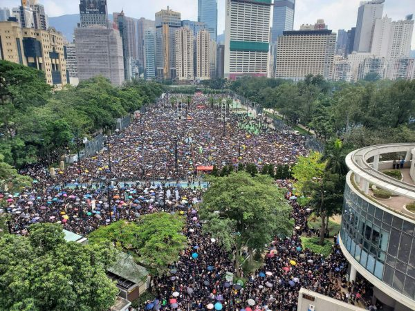 Protesters at Victoria Park in Hong Kong