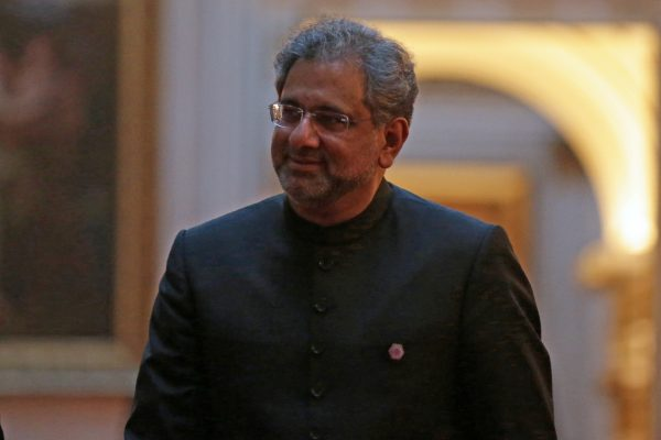 Pakistan's Prime Minister Shahid Khaqan Abbasi arrives to attend The Queen's Dinner