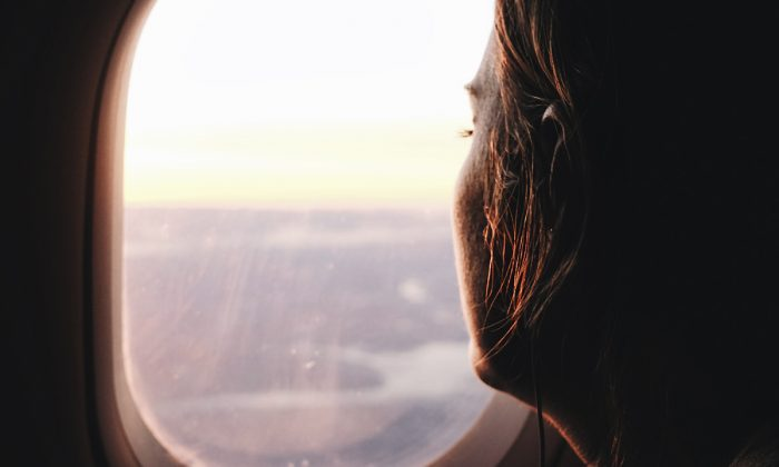 Airplane window sunset.