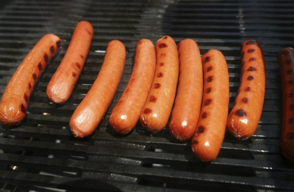 Hot dogs on a gril