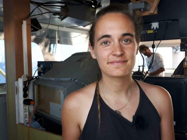 captain Carola Rackete is seen on board