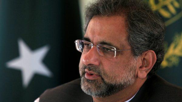 Pakistan's Prime Minister Shahid Khaqan Abbasi speaks with a Reuters correspondent