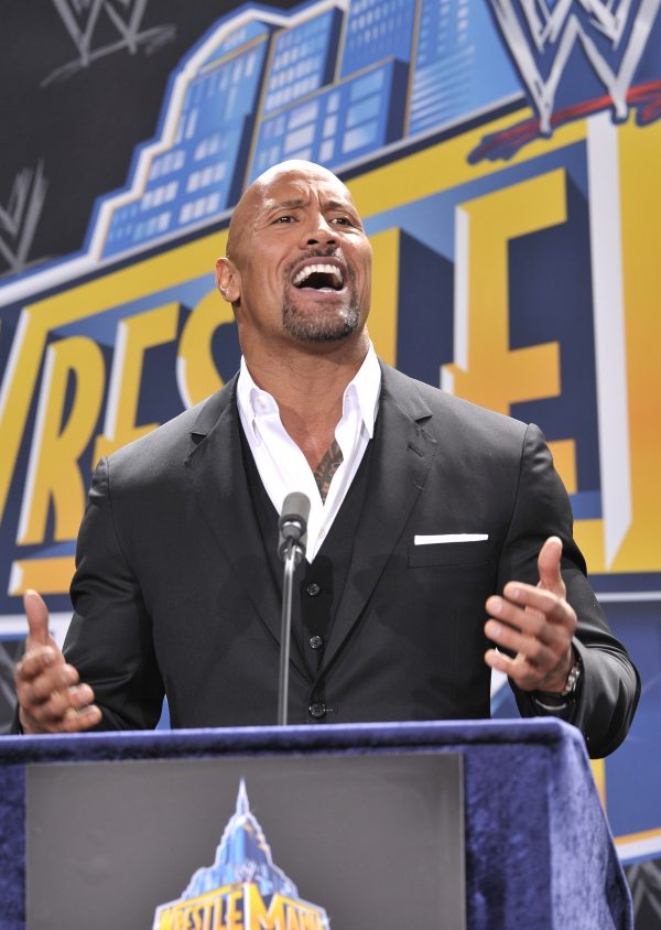 """Dwayne """"The Rock"""" Johnson attends a press conference to announce that MetLife Stadium will host WWE Wrestlemania"""