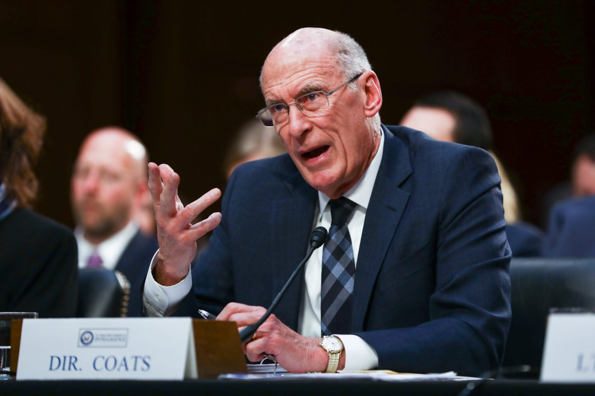 Office of the Director of National Intelligence Director Daniel Coats testifies at a hearing in front of the Senate Intelligence Committee in Congress in Washington