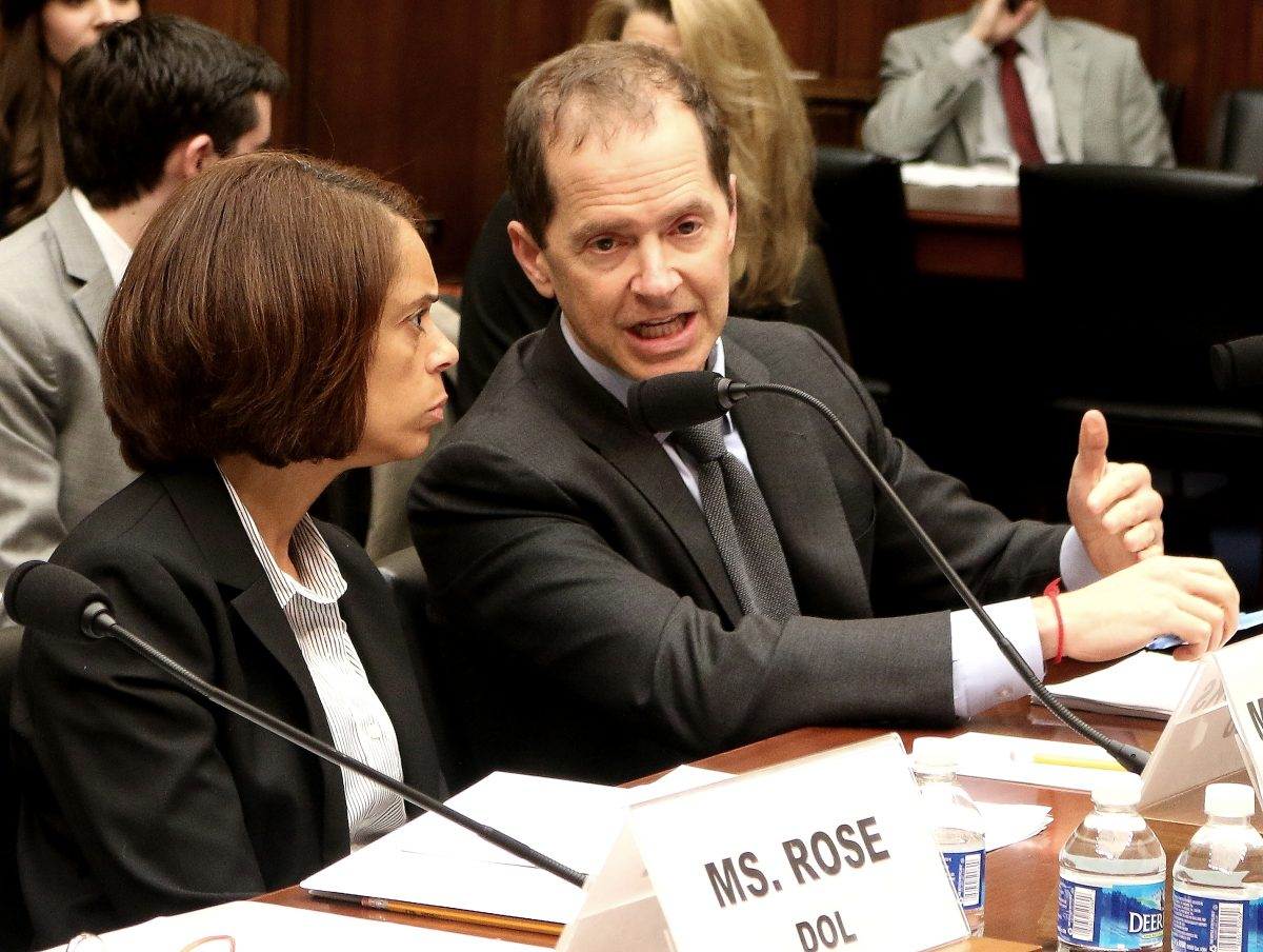"""Chief Human Capital Officer Towanda Brooks (L), from the U.S. Housing and Urban Development (HUD), and Max Stier, president and CEO, Partnership for Public Service, testify at a hearing on April 27 at the House Committee on Oversight and Government Reform on """"Best and Worst Places to Work in the Federal Government."""" (Gary Feuerberg/Epoch Times)"""