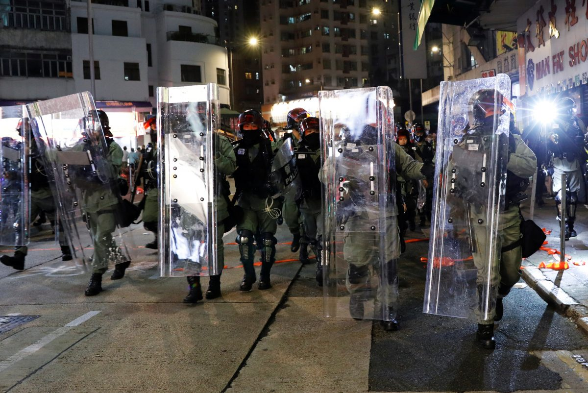 Riot police officers in Hong Kong