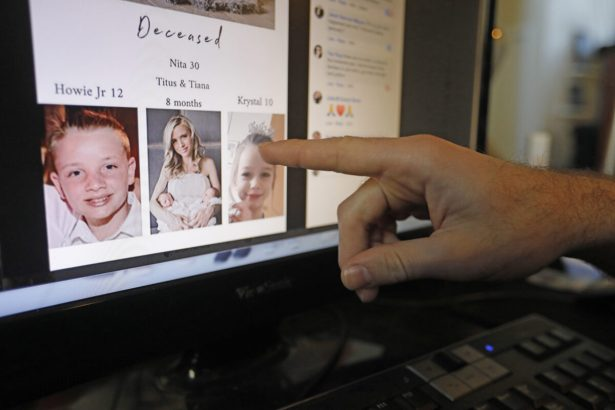 Austin Cloes points to a photo of relatives Rhonita Miller