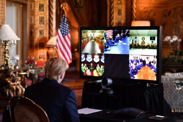 Trump makes a video call to troops