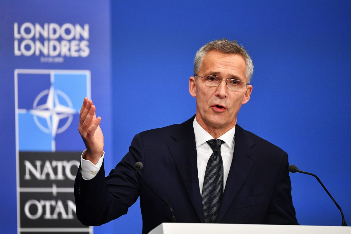 Jens Stoltenberg, Secretary General of NATO talks at a press conference while attending the NATO summit at the Grove Hotel on December 4, 2019 in Hertford, England. (Leon Neal/Getty Images)