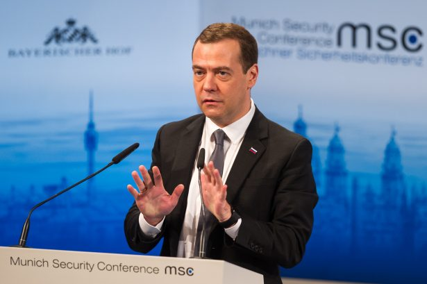 Russian Prime Minister Dmitry Medvedev at the 2016 Munich Security Conference at the Bayerischer Hof Hotel in Munich, Germany, on Feb. 13, 2016. (Lennart Preiss/Getty Images)