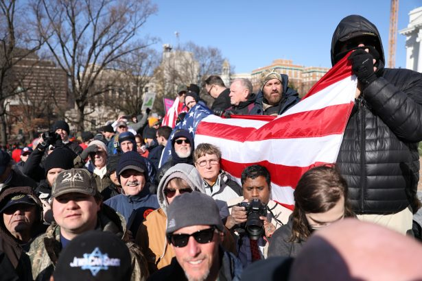 Gun rights activists take part in a rally