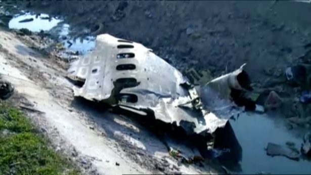 Part of the wreckage from Ukraine International Airlines flight PS752, a Boeing 737-800 plane that crashed after taking off from Tehran
