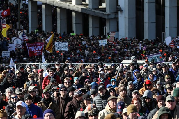 Gun rights advocates take part in a rally