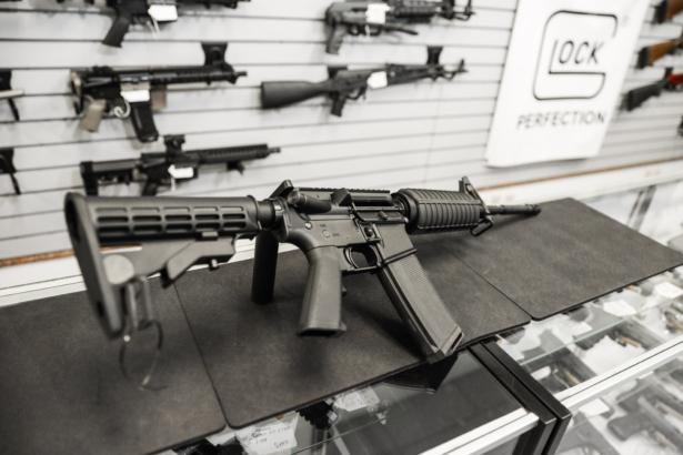 An AR-15 semi-automatic rifle