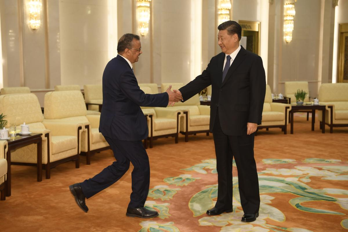 World Health Organization director general Tedros and Xi