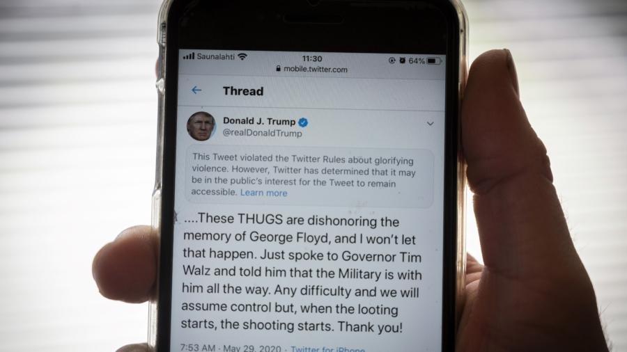 Twitter Hides Trump's Tweet That Warned Rioters Against Looting