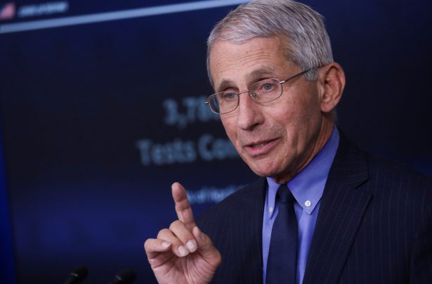 National Institute of Allergy and Infectious Diseases Director Anthony Fauci addresses daily coronavirus response briefing at the White House in Washington