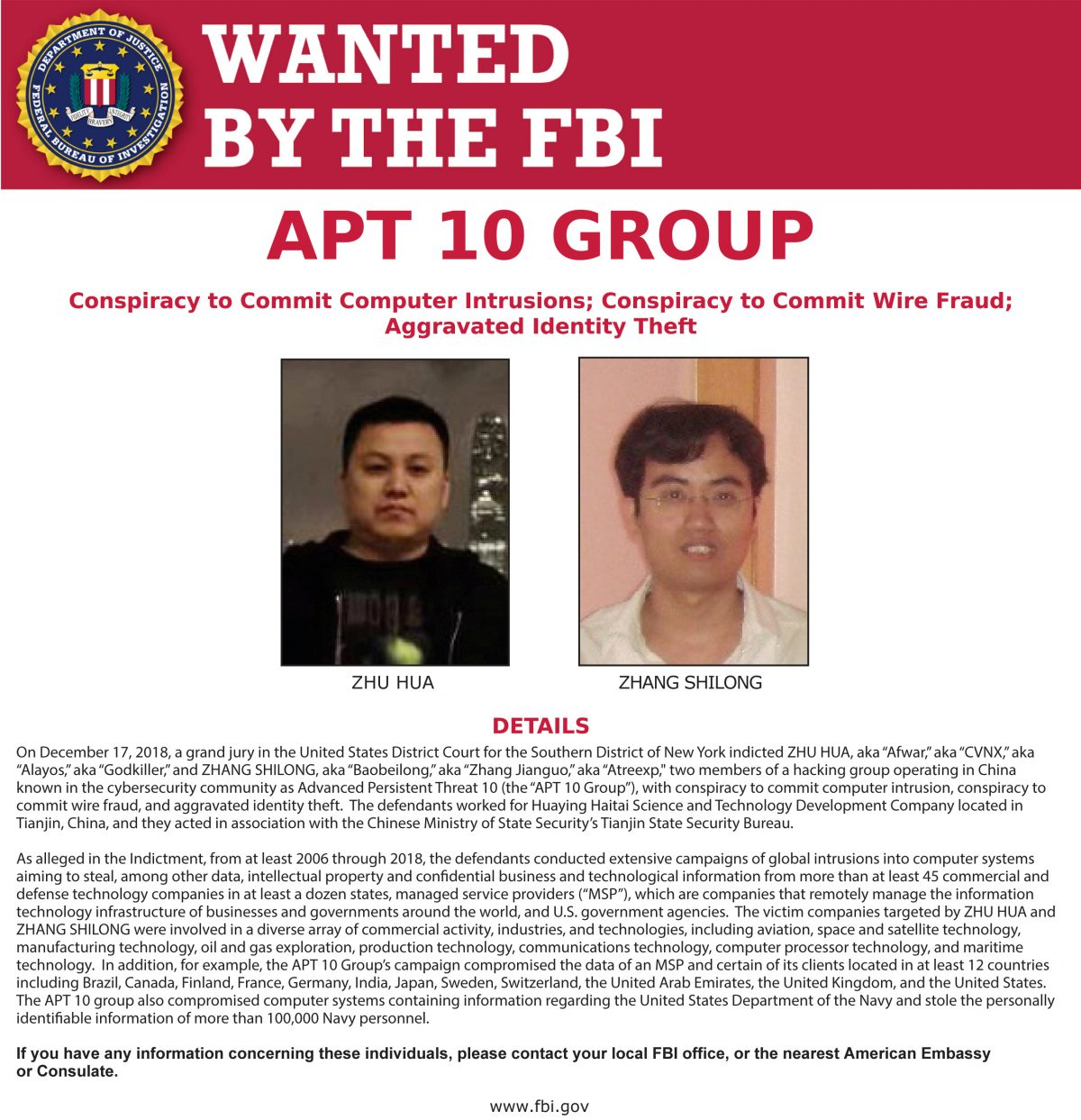Zhu Hua Zhang Shilong FBI cloud hopper APT10