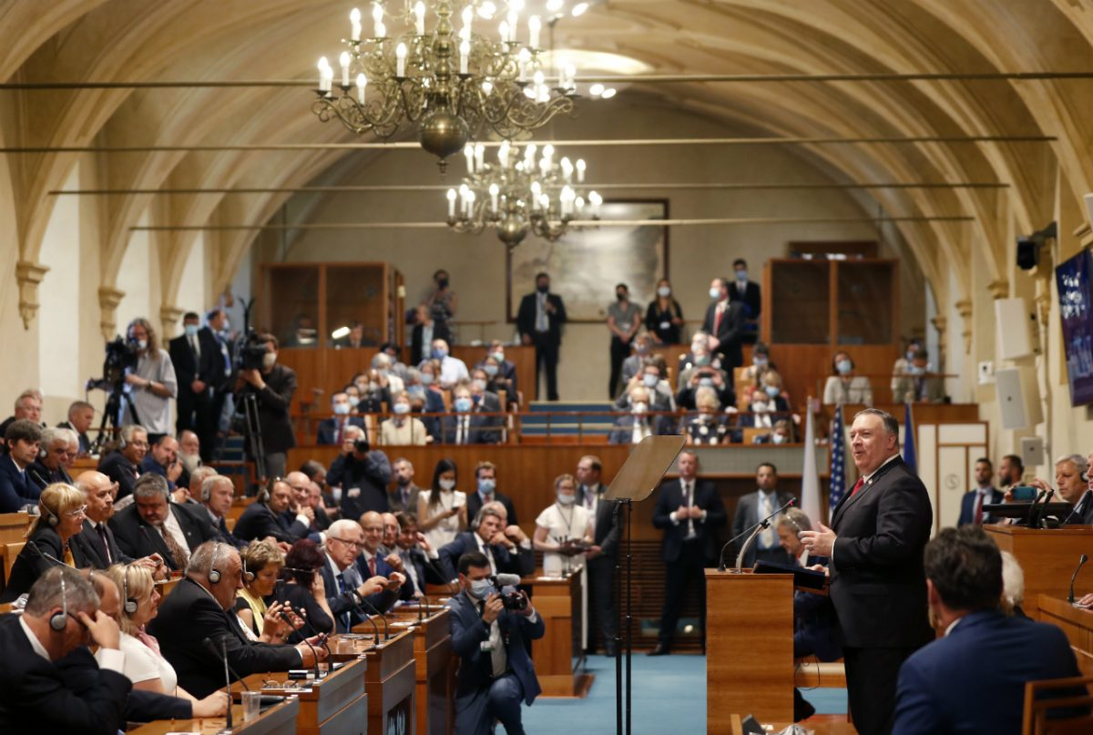 U.S. Secretary of State Mike Pompeo, right, speaks during a meeting of the senate in Prague, Czech Republic, Wednesday, Aug. 12, 2020. (Petr David Josek/AP Photo/ Pool)